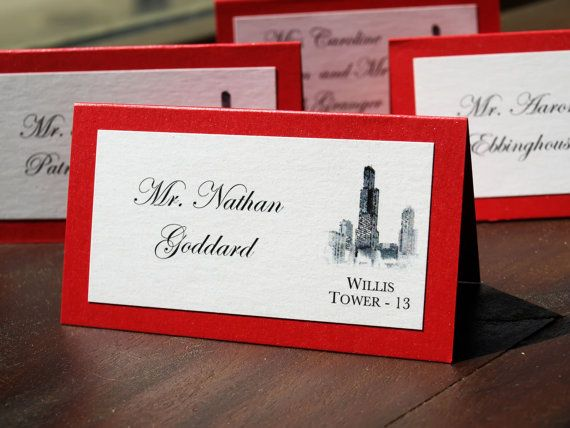 Chicago Landmark Place/Escort Cards - 2 layer 2 color with the bronze shimmer card background