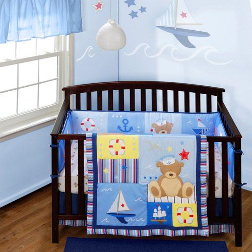 Monkey Bathroom Set Walmart: Baby Boom Anchors Away 4-piece Crib Bedding Set