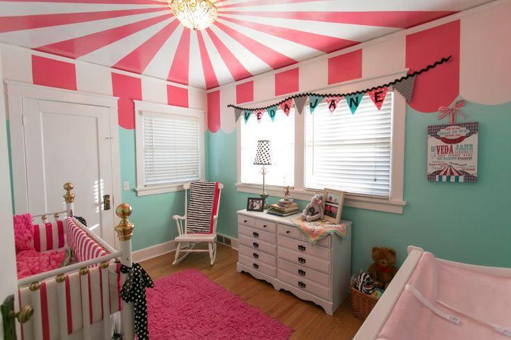ADORABLE carnival themed nursery / kid bedroom - LOVE the colors!