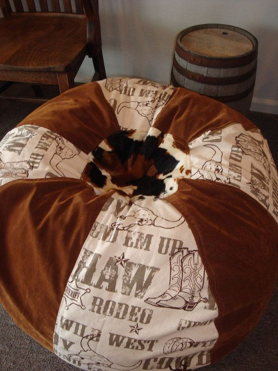 This would be great for kiddos room.  Western Rodeo Cowboy Motif Bean Bag chair