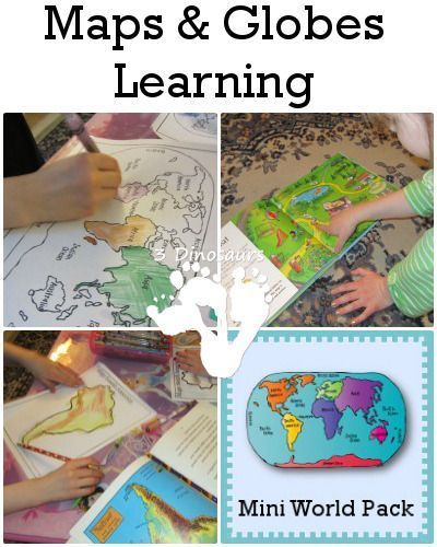 Maps & Globes activities with a FREE Mini World Pack - 3Dinosaurs.com