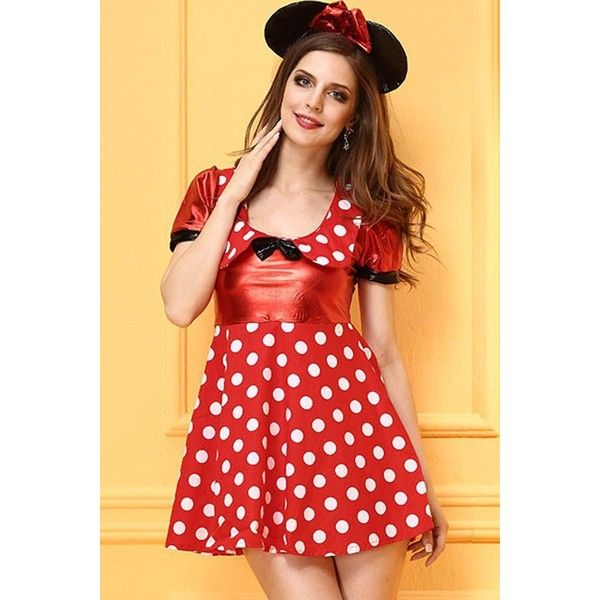 Red Polka Dot Minnie Mouse Fancy Dress Halloween Cosplay Costume (33 AUD) ❤ liked on Polyvore featuring costumes, minnie mouse costume, cosplay halloween costumes, fancy costumes, polka dot costume and red costume