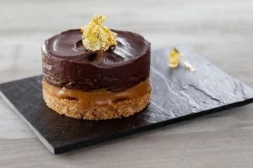 Amaretto millionaires shortbread with salted caramel, chocolate ganache and gold leaf Recipe