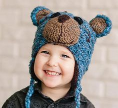 Шапочка Мишка Тедди для мальчика. Описание вязания