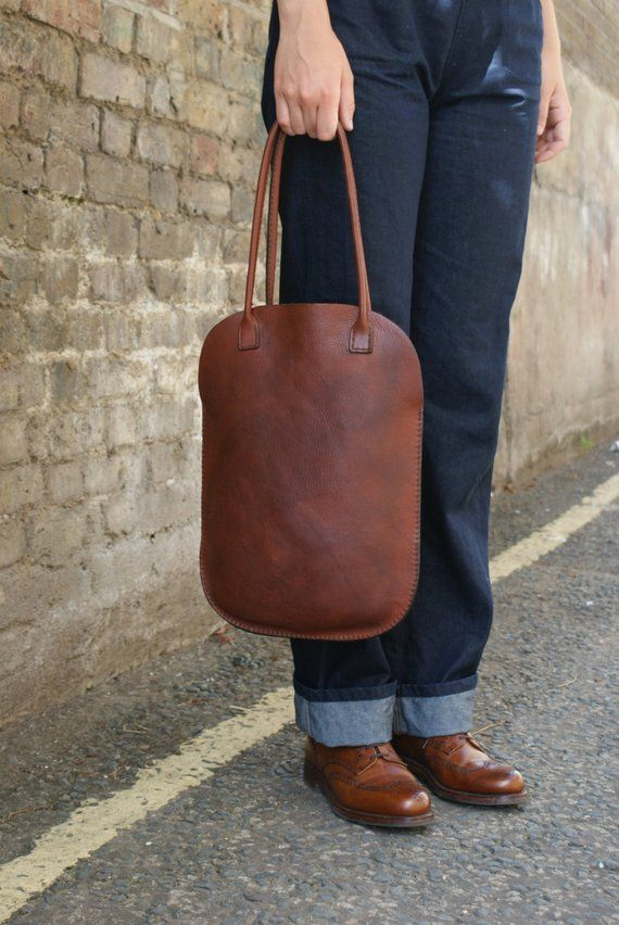 A Stunning Flat Bag Leather Bags Handmade Handmade Leather Tote