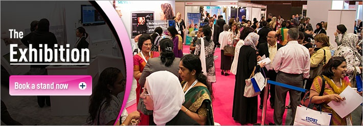 Busy exhibition floor at Obs-Gyne expo in Dubai