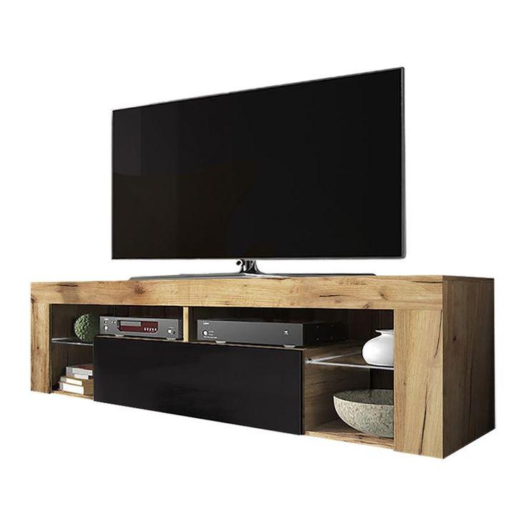 Selsey Bianko Meuble Tv Banc Tv Chene Lancaster Noir Brillant 140 Cm Sans Led Mm5903025217659 En 2020 Meuble Tv Meuble De Television Meuble Bas