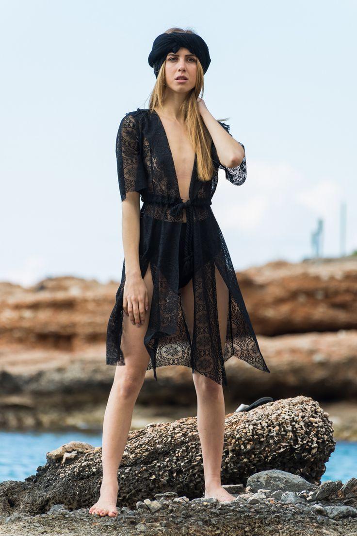 Black lace kimono , By nadia rapti ,Summer collection'15
