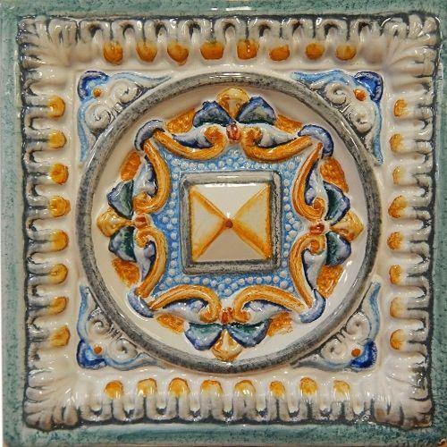 """Изразец """"Филигранный"""" с тонкой росписью. Всего  вида рельефа. #изразцы #керамика #плитка #филигранный"""