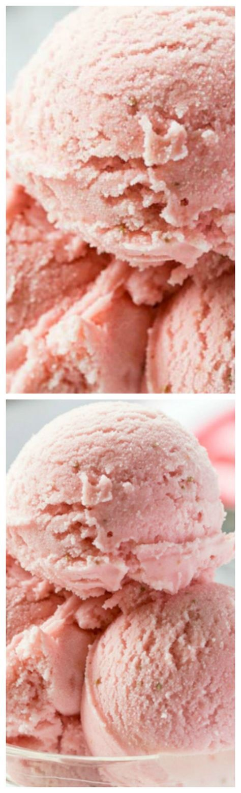 Fresh Strawberry Ice Cream ~ Creamy and smooth, with tart (not sour) undertones that you'd expect from a good ripe strawberry. With a touch of Grand Marnier, buttermilk and mascarpone cheese, the rich