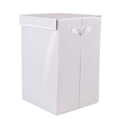 Panier à linge pliable blanc, dim. 32x32xh.50 cm, carton et polyester.