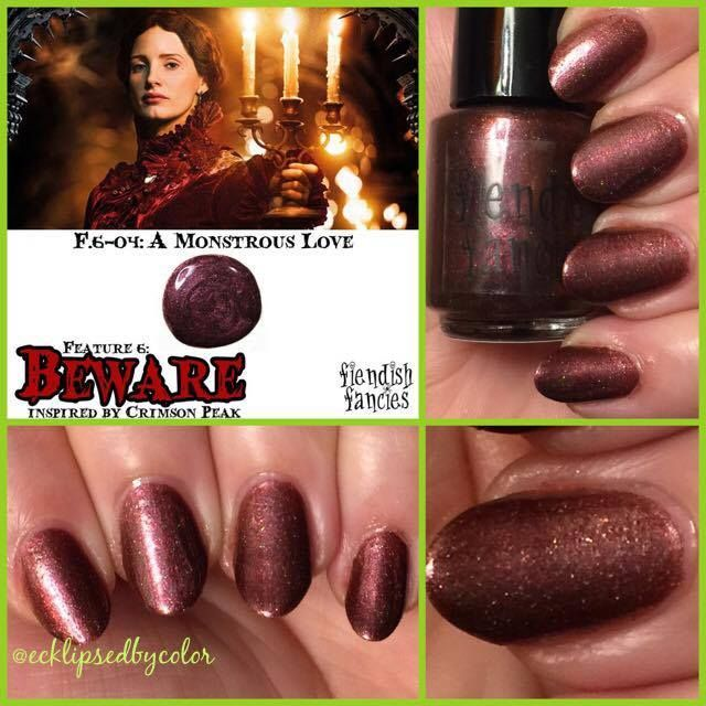 F.6-04: A Monstrous Love  Blackened Burgundy with crimson shimmer and scattered holo , inspired by Lucille Sharpe.: The Beware Collection ~ Inspired by Crimson Peak ~ 5-Free, vegan, cruelty-free Nail Lacquer hand-poured in Canada