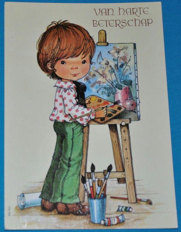 Jongen met schildersezel