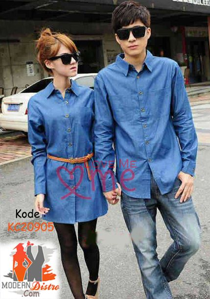 Jual Kemeja Couple Lengan Panjang Dress Denim Biru KC20905   ModernDistro.com