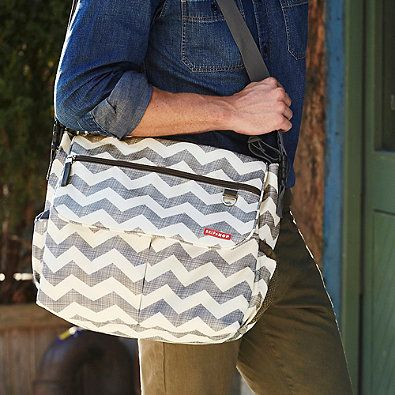 Skip Hop Dash Signature Messenger Diaper Bag in Heather Grey at BuyBuyBaby.