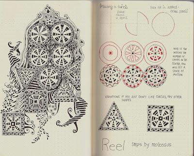 Life Imitates Doodles aka Sandra Strait aka molossus: New Tangle Pattern Reel/Round 6 Page 3 of the Rhodia Journal Swap