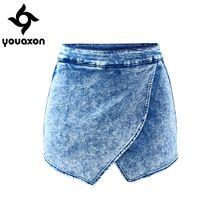 1892 Youaxon Fldas Y das Mulheres Calções de Lavagem Ácido Cintura Alta Jeans Calças Curtas Para As Mulheres Calças De Brim Skort(China (Mainland))