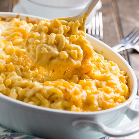 3 Cheese Mac and Cheese - how about crumbling potato chips instead of bread crumbs or panko on top?  Or perhaps bacon? I'd like some green onion for sweetness and more tang for this comfort food.