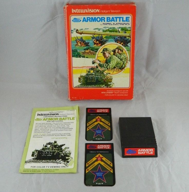 Intellivision Armor Battle Game Cartridge Original Box Overlays & Manual 1979