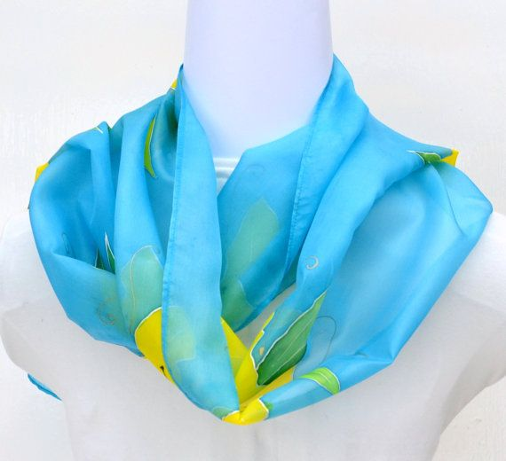 Hand Painted Silk Scarf Flowers Scarf 64 x 11 by SallyAnnesSilks