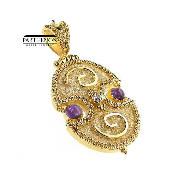 Handmade Byzantine Pendant 18k Solid Gold by ParthenonGreekJewels