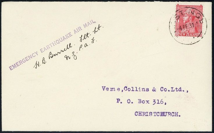 Lot 2400 - (x) New Zealand1931 Napier EarthquakeAirmail Relief Flights1931 (4 Feb.) envelope from Hastings to
