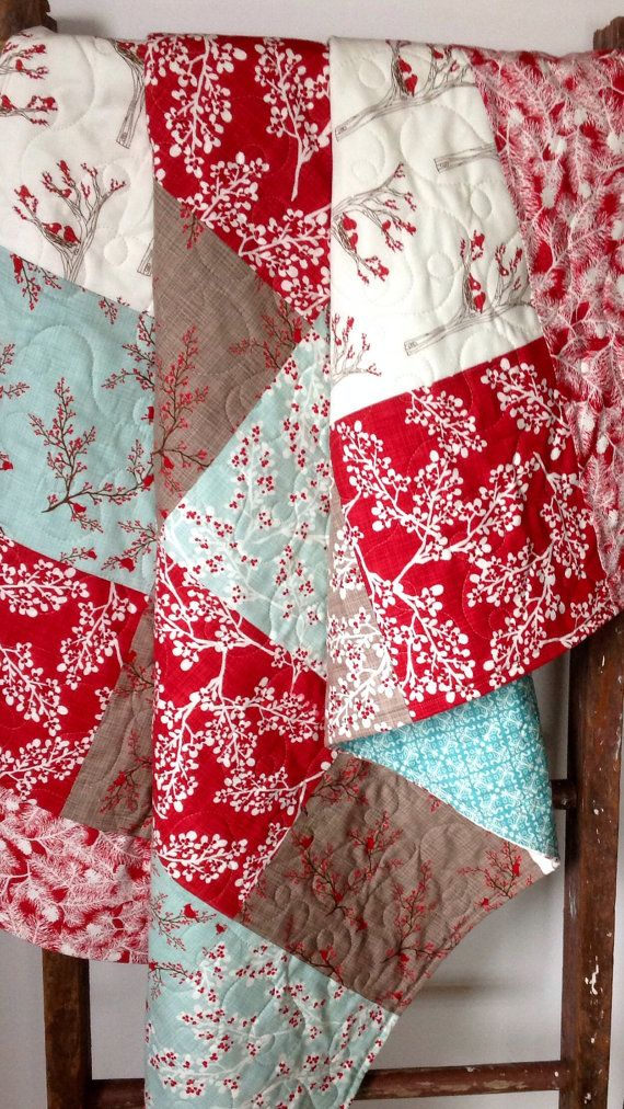 Quilt, Winter/Christmas Quilt, Rustic Cottage Quilt, Lap Quilt, Winters Lane Quilt, Quilted Throw, Mistletoe, Red, Blue, Taupe on Etsy, $175.00