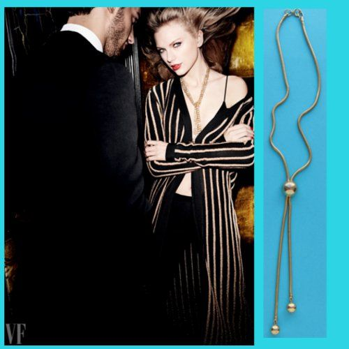 Vintage 1970s bolo style gold tone necklace is similar to Taylors