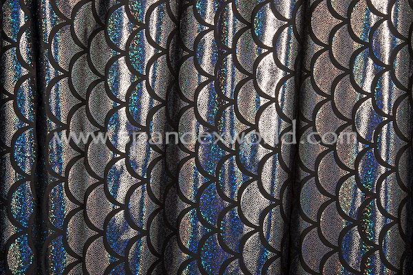 Black holographic fish scale foil patterns on black poly for Fish scale coke prices