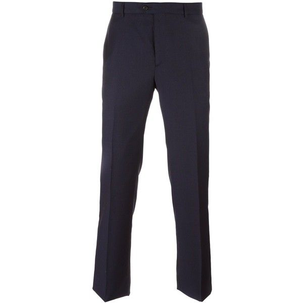 ??ditions M.R Tailored Regular Trousers ($171) ❤ liked on Polyvore featuring men's fashion, men's clothing, men's pants, men's casual pants, mens navy blue pants, mens casual wool pants, old navy mens pants, mens wool pants and mens tailored pants