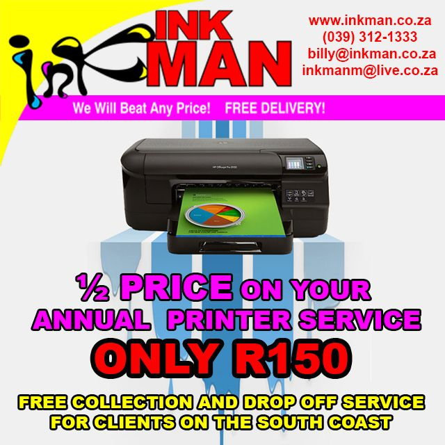 Pay #HalfPrice on your Annual #Printer #Service at @INKmanKZN #INKman #BestDeals http://bit.ly/1jwqAOE