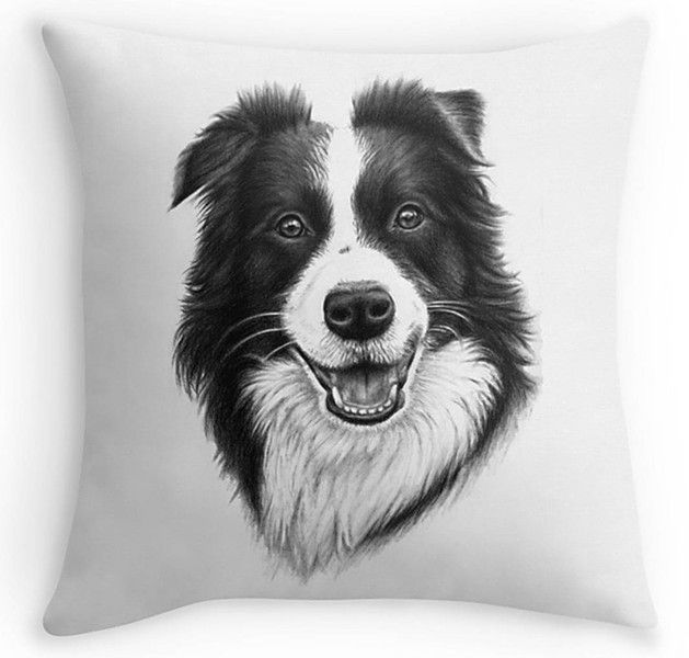 BORDER COLLIE, Kissen 40x40 inkl. Füllung von Arts & Dogs by Nicole Zeug auf DaWanda.com