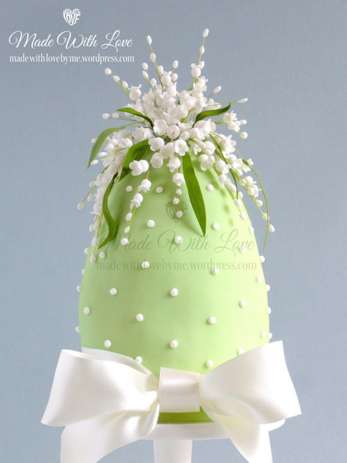 Lily of the Valley Easter Egg Cake by Pamela McCaffrey