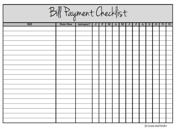 Get Your Finances Organized With A Bill Payment Checklist ...