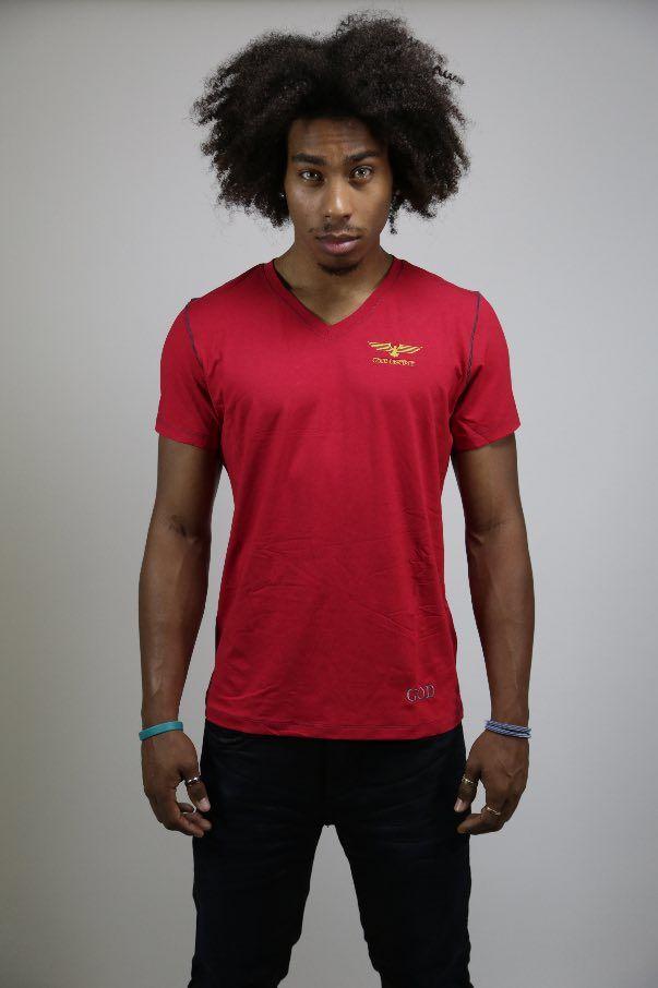 LE CLASSIQUE - T-shirt Viscose Col V Red $50,99 CAD