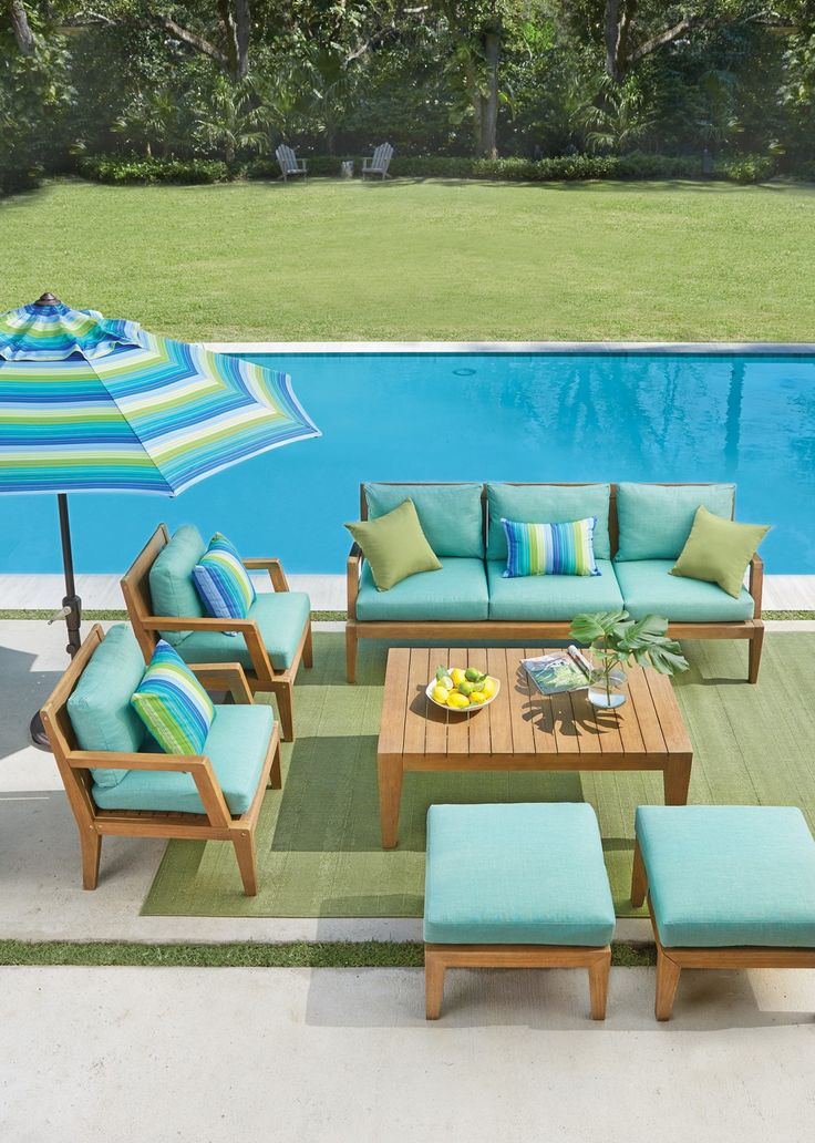Our Bermuda Outdoor Deep Seating Set Has A Tropical Look With Its Fsc Certified Eucalyptus Wood And Vibrant Olefin Fabric Cushions Shop At Home Decorators