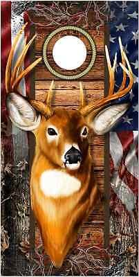 Cornhole Bag Toss 79791: Trophy Deer Camo Flag Cornhole Wrap Bag Toss Skin Decal Sticker Wraps BUY IT NOW ONLY: $55.75