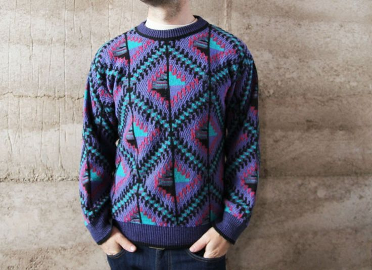 Mens Fair Isle Sweater Knitting Patterns : FAIR ISLE sweater mens vintage 80s 90s thick cable knit DIAMOND patterne...