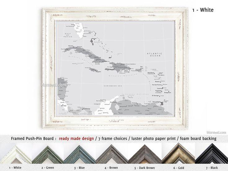Elite framed push pin board of the Caribbean Islands in grayscale #AnniversaryGift #GrayMap #CorkBoardBacking #FramedCorkboard #CustomDesignedPrint #HandmadeFramedPushPinBoard #HandmadeInUsa #GrayscaleMap #AnniversaryGiftIdea #FramedPushPinBoard