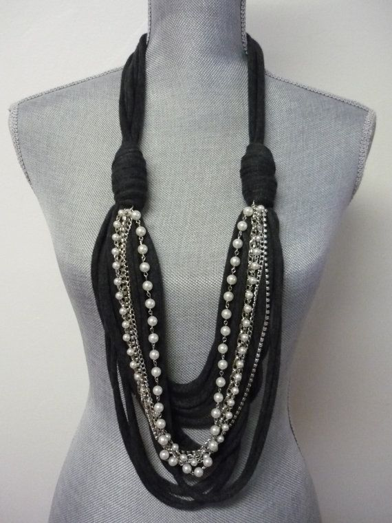 Chunky Scarf Necklace w/chains Charcoal Grey & by MarieLaMode