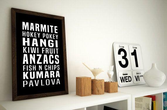 Kiwi Food Wall Art - Kiwiana - A4 / 8x10 Typography Wall Art Print