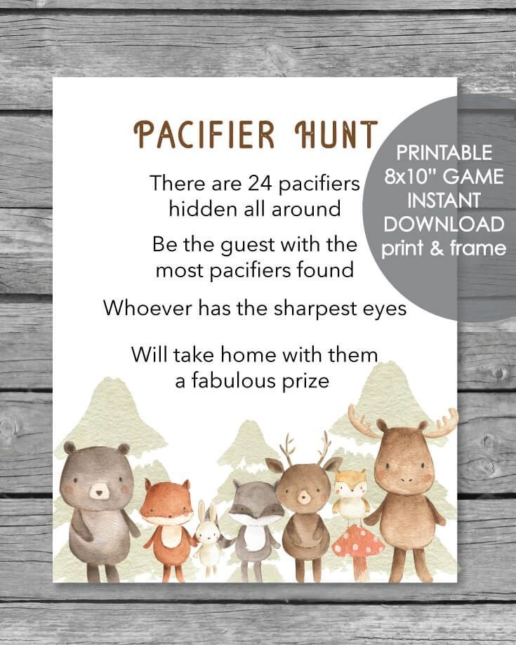 Winter Woodland Late nigh diapers game Adventure printable Forest animal baby shower game 8x10 game sign