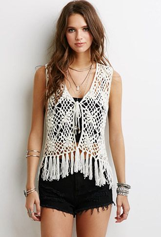 Fringed Floral Crochet Vest | Forever 21 - 2000052744