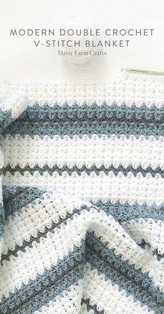 Padrão Livre - Moderno Crochet Duplo V-Stitch Blanket #crochet