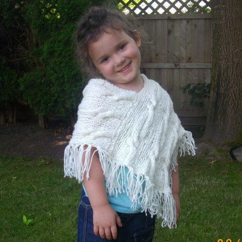 Caireann cable Shawl Poncho for baby and toddler PDF by PurplePup