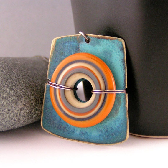 rustic turquoise brass and sterling silver painted metal lampwork glass womens necklace that rocks