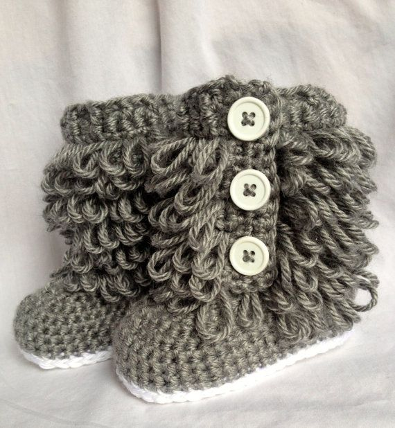 Baby Girl Ugg  Boots Crochet on Etsy,  mrs. Kathy will you make this for me???  My great niece would look so cute in these!!!
