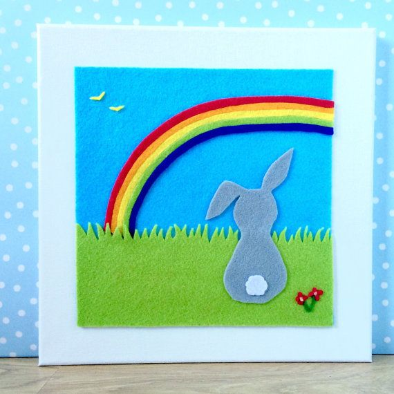 Rainbow and Rabbit Picture felt. Suitable for by BunbyAndBean bunbyandbean.etsy.com