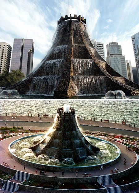 Volcano Fountain in Abu Dhabi was demolished in 2004 to make space for a more picturesque development of the neighborhood.