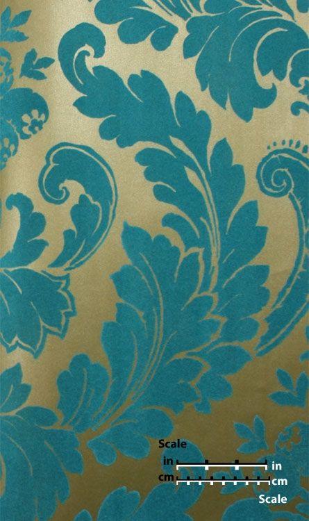 Plush Flocked Wallpaper Heritage Damask Gold Leaf/Teal Velvet   designyourwall.com